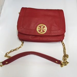 Tory Burch red leather crossbody bag